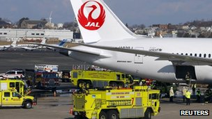 Boeing Dreamliner catches fire in Boston